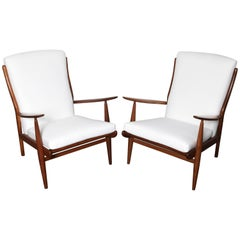 Pair of Parker Knoll Solid Wood Frame Lounge Chairs