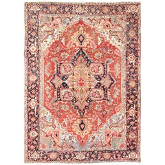 Antique Heriz-Serapi Rug in Light Blue, Rusty Red, Green and Black