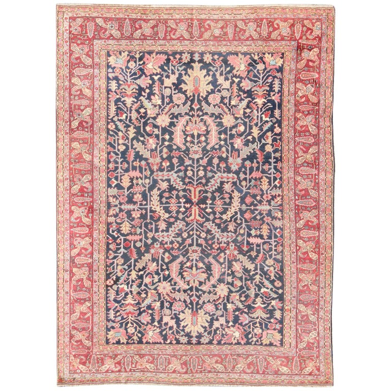 Vintage Floral Rugs: Navy Background Antique Heriz-Serapi Rug With All-Over