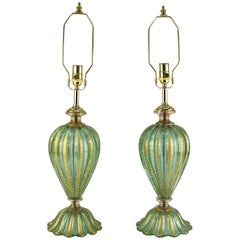 Mid-Century Pair of Turquoise Hand-Blown Barovier and Toso Lamps