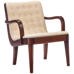 Axel Larsson for Bodafors, Attributed, Swedish Upholstered Beech Armchair