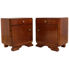 French Art Deco Bedside Cupboards