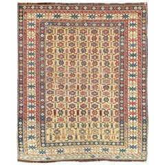 Antique Kuba Rug with All-Over Geometric Design in Multi-Colors and Yellow