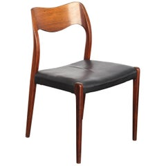Single Rosewood Jl Møller Model No. 71. Dining Chair by Arne Hovmand Olsen
