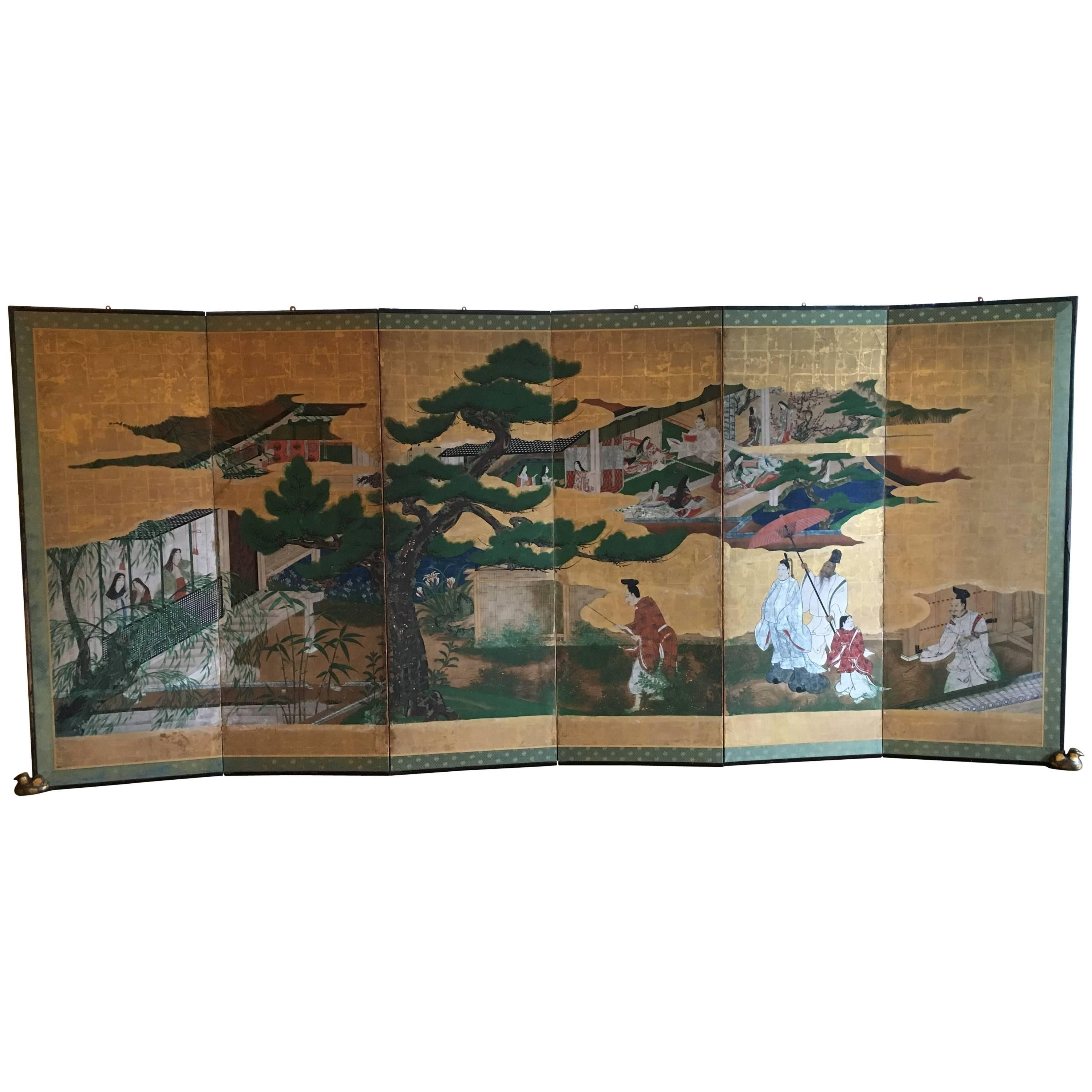 Japanese Momoyama Period Kano School Figural Six-Panel Screen, circa 1600