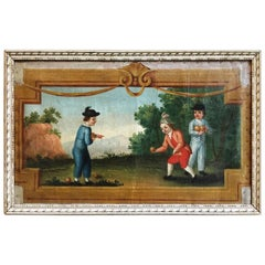 French Painting of Boys Playing Boules, 18th Century