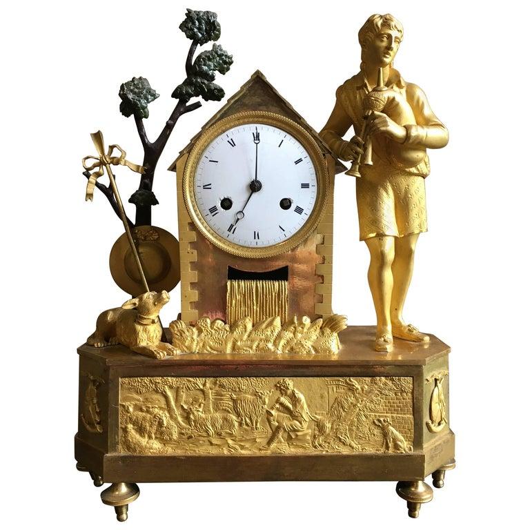 French Empire Figural Mantel Clock, circa 1805