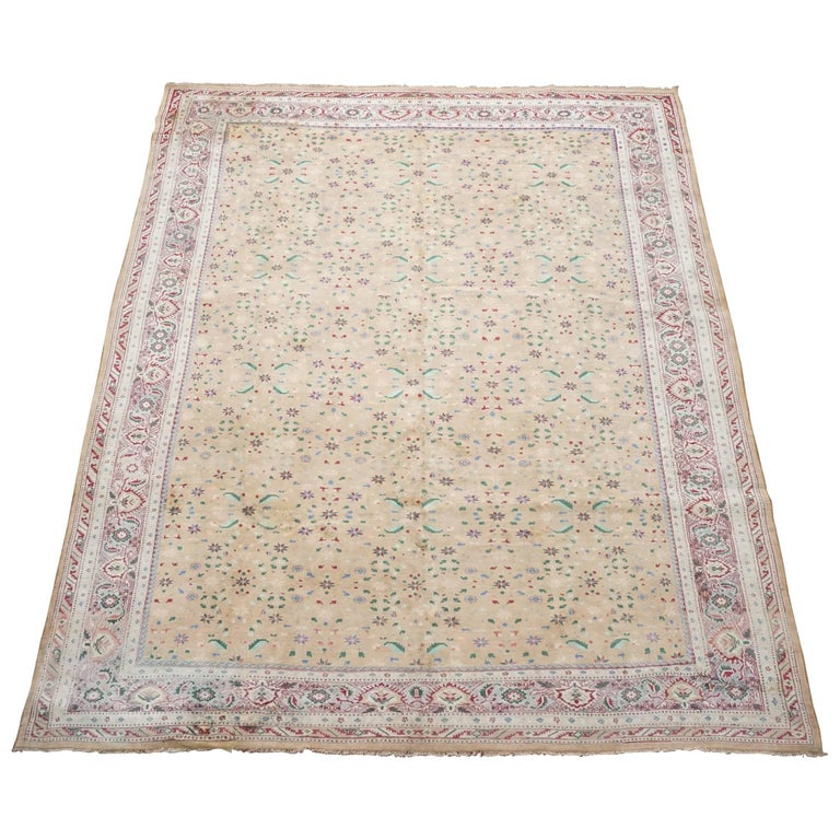 Antique Cotton Agra Rug, Circa 1920 For Sale At 1stdibs