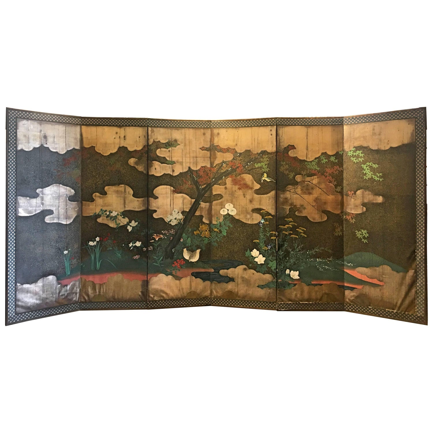 Antique japanese screens for sale - Japanese Edo Period Six Panel Screen Autumn