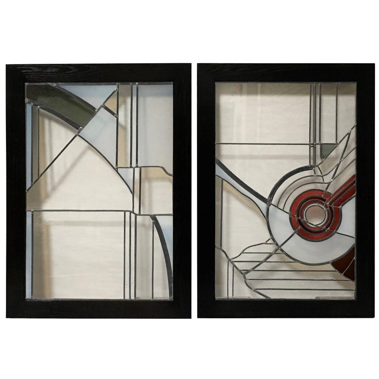 Pair of Abstract Leaded Glass Windows