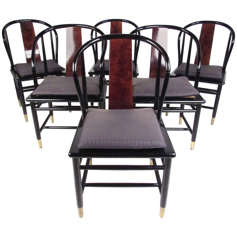 Black Lacquer Dining Room Chairs: Six Henredon Chinoiserie Mahogany And Cane Dining Chairs