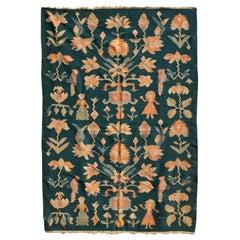 Mid-Century Modern Wall Tapestry Green Rug