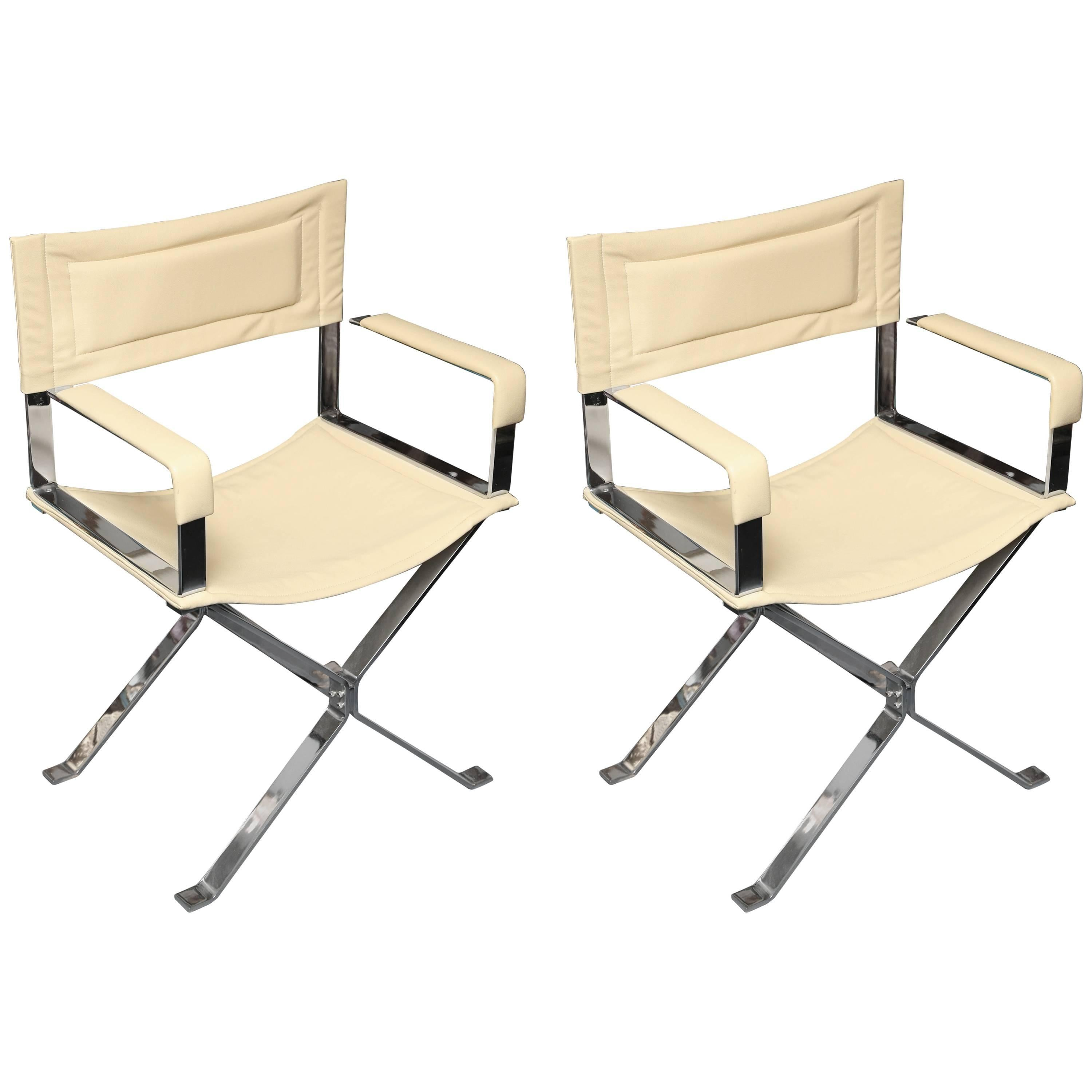 """Pair of Albrizzi Mid-Century """"Directors"""" Chairs"""