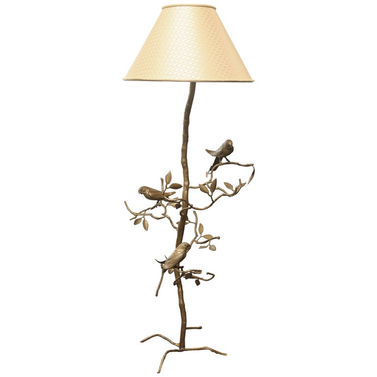 Giacometti Inspired Mid-Century Hammered Brass Floor Lamp For Sale