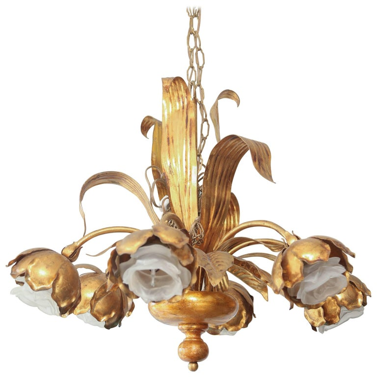 Whimsical Italian Mid-Century Flora-Form Gilt Metal Chandelier For Sale