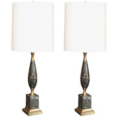 Superb Pair of Mid-Century Italian Marble Lamps