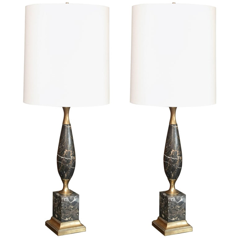 Superb Pair of Mid-Century Italian Marble Lamps 1
