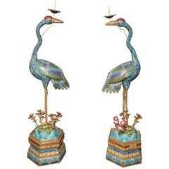 Pair of Life Size Cloisonné Cranes