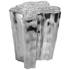 European Modern Organic Melted Aluminium Trunk Large Side or End Table