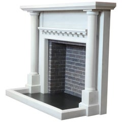 Edwardian Style Carved Limestone Fire Surround with Matching Limestone Fender