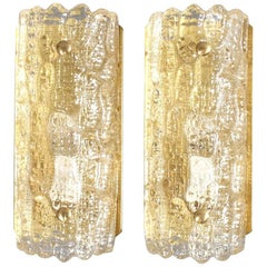 1960s Mid-Century Carl Fagerlund Orrefors Glass Wall Sconces