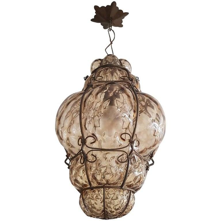 Early 20th Century Venetian Blown Glass Pendant Light At
