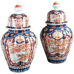 19th Century Pair of Imari Vases and Covers