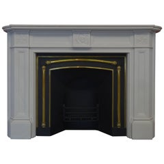 Victorian Style Carved White Marble Fireplace with Antique Victorian Fire Grate