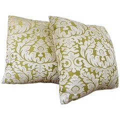 Contemporary French Green and Ivory White Damask Velvet Throw Pillows
