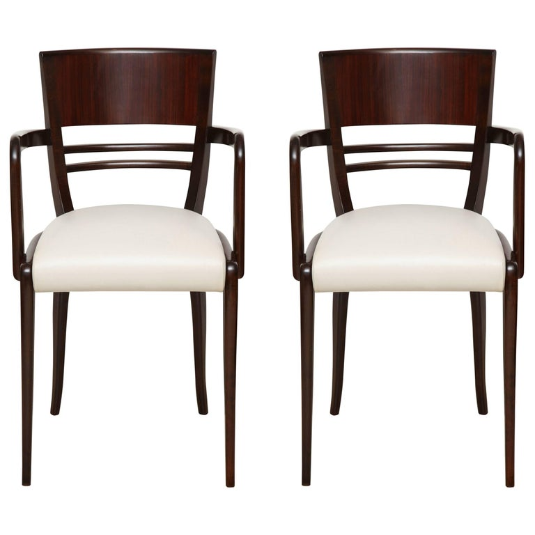 Pair of French Rosewood Armchairs with Tapered Legs & Upholstered Leather Seats