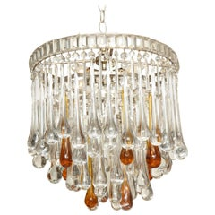Italian Chandelier with Clear and Amber Crystal Drops and Beads ...