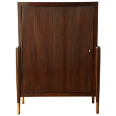 Art Deco Mahogany Cabinet with Ribbed Door and Interior Shelves, Italy, 1940s
