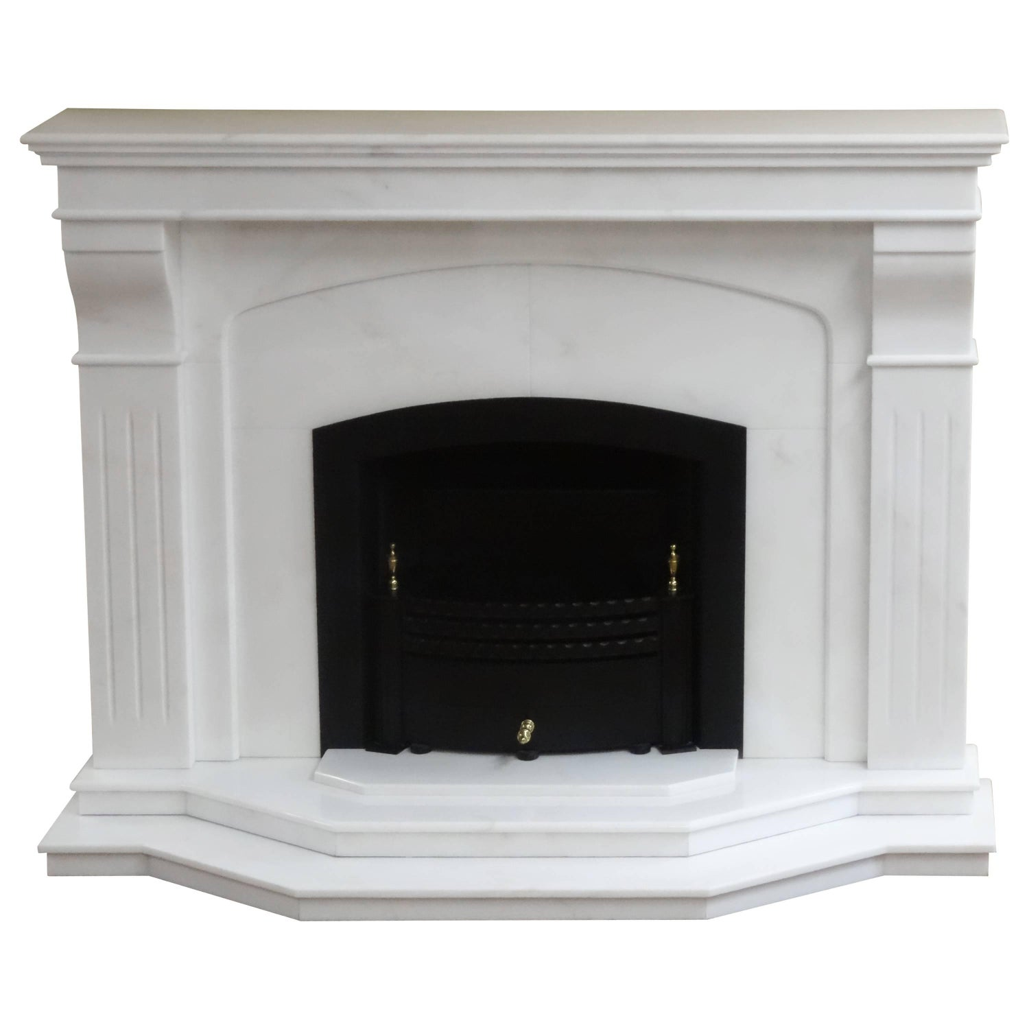 21st century contemporary carved marble fireplace with metal trim