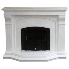 21st Century Contemporary Carved Marble Fireplace with Metal Trim and Fire Grate
