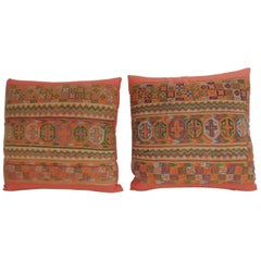 Pair of 19th Century Woven Turkish Orange Decorative Pillows