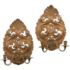 Good Pair of Charles II Giltwood Wall Sconces
