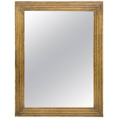 American Ribbed Giltwood Rectangular Mirror