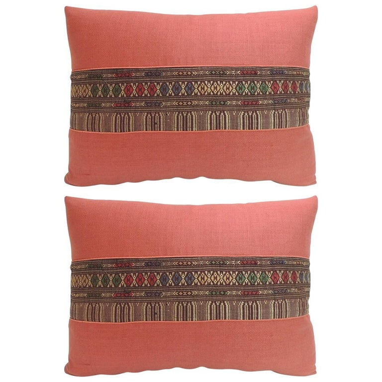 Decorative Black Lumbar Pillow : Pair of Vintage Embroidered Asian Decorative Lumbar Pillows For Sale at 1stdibs