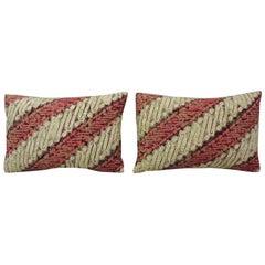 Pair of Vintage Batik Printed Red and Natural Decorative Lumbar Pillows