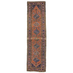 Antique Heriz Persian Runner with Modern Tribal Style