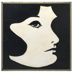 1960s Modern Black and White Jackie O Oil Painting, Framed