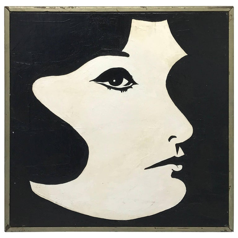 1960s Modern Black and White Jackie O Oil Painting, Framed For Sale