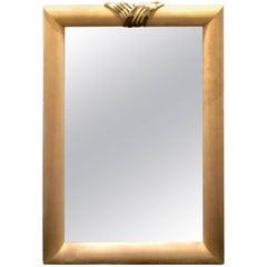 Mid-Century Faux Goatskin Mirror with Brass Detail After Karl Springer