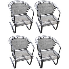 Set of Four Mid-Century Woodard Wrought Iron Barrel Back Patio Dining Chairs