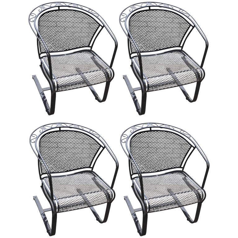 Set Of Four Mid Century Woodard Wrought Iron Barrel Back Patio