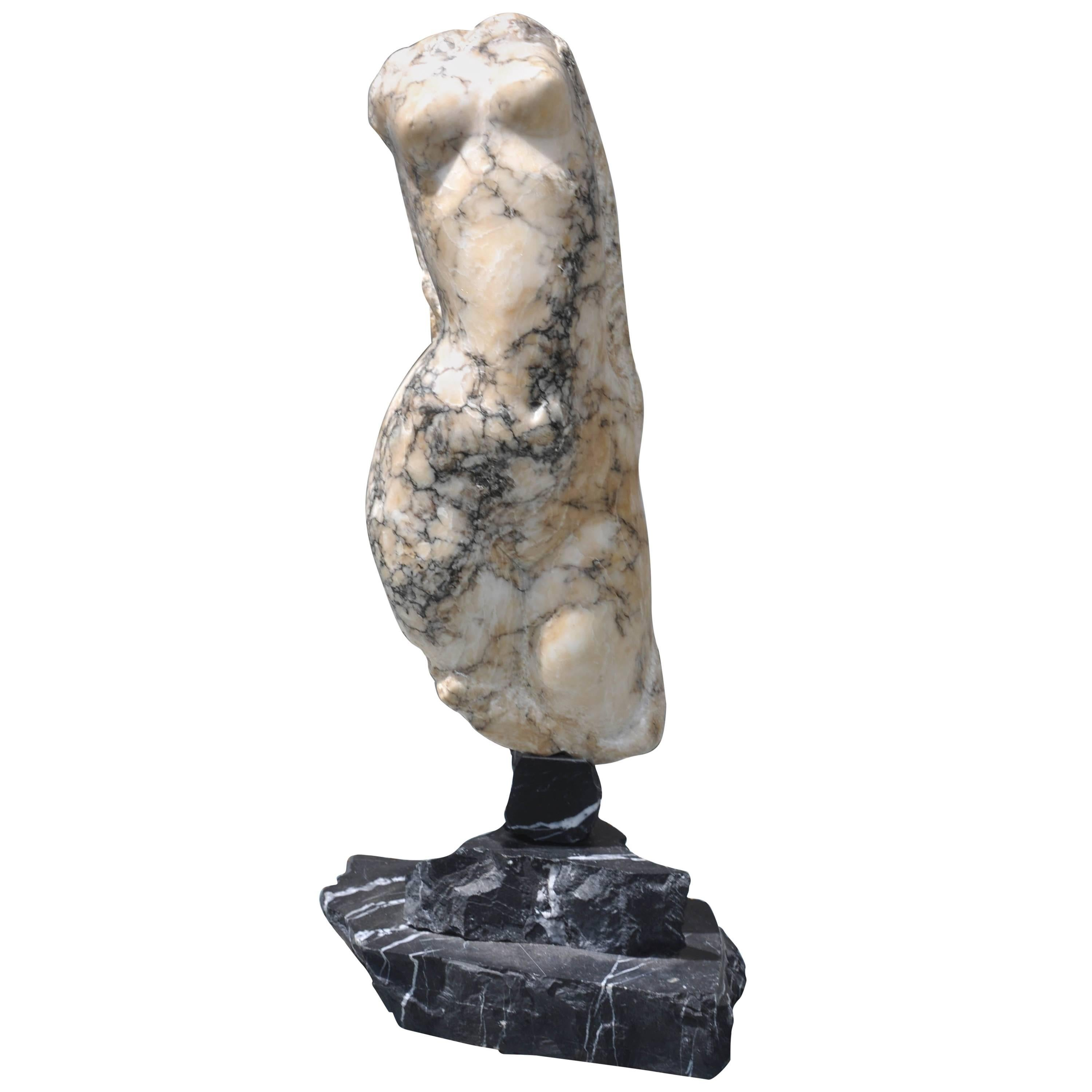 Abstract Marble Female Torso Sculpture, Italy, 1900