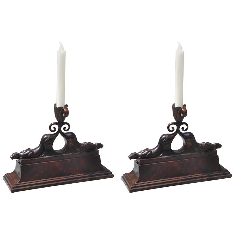 Pair of Art Deco Patinated Bronze Panther Candlesticks signed Cherry, Paris 1930 For Sale