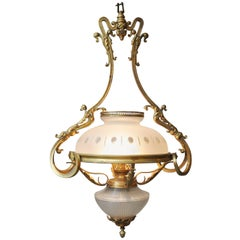 Rococo Gold Bronze Oil Lamp Chandelier, France, 1880