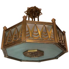 Wonderful French Bronze Art Deco Frosted Glass Octagonal Chandelier Flush Mount