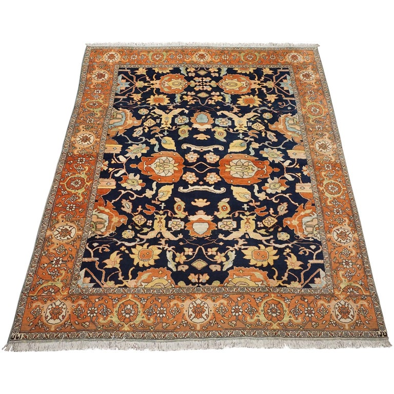 Antique Cotton Agra Rug With Abrash Circa 1900 For Sale: Antique Signed Persian Mahal Sultanaban Rug With Abrash